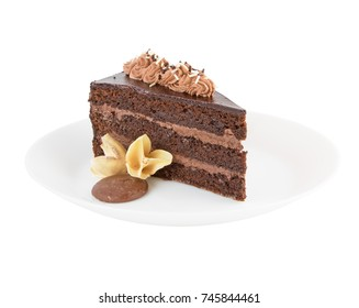 Brown chocolate cake on white plate isolated on white background