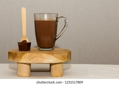 Brown chocolate milk standing on table