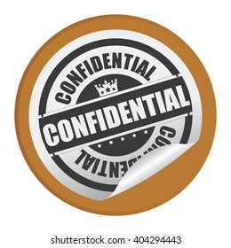 Brown Circle Confidential Product Label, Campaign Promotion Infographics Flat Icon, Peeling Sticker, Sign Isolated on White Background