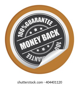 Brown Circle Money Back 100% Guarantee Product Label, Campaign Promotion Infographics Flat Icon, Peeling Sticker, Sign Isolated on White Background