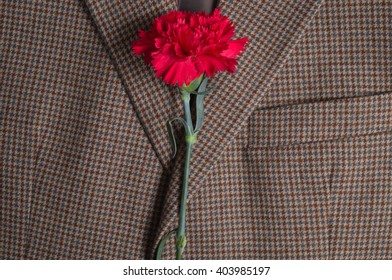 Brown classic tweed coat, with carnation on top. Fashion and lifestyles