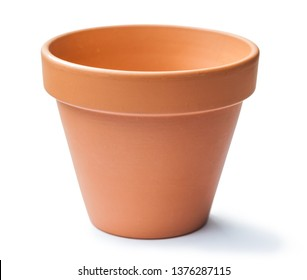 brown clay pot isolated on white