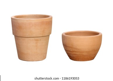 Brown clay pots for planting trees on white background
