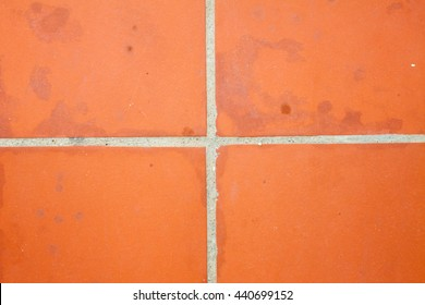 brown clay tile pavement floor top view background