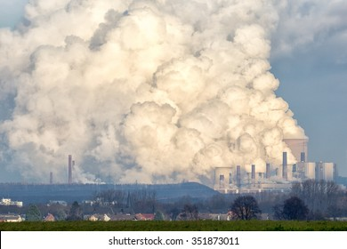 Brown coal power plant emission.