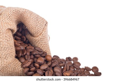 brown coffee beans in burlap sack isolated on white background