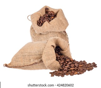 brown coffee beans in burlap sacks isolated on white background