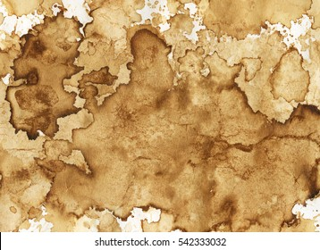 Brown coffee stains on paper. Abstract background or texture