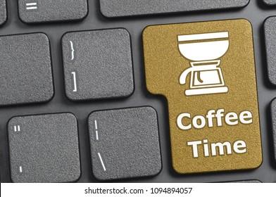 Brown coffee time key on keyboard