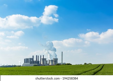 brown cole power station energy industry on agriculture landscape in summer