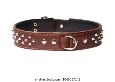 brown collar with rivets isolated over white background