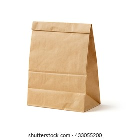 Brown color recycled paper bag isolated on white, recyclable concept