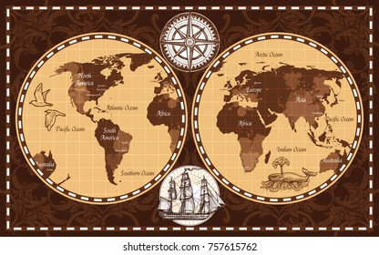 Brown color retro nautical world map with names of continents and oceans flat  illustration