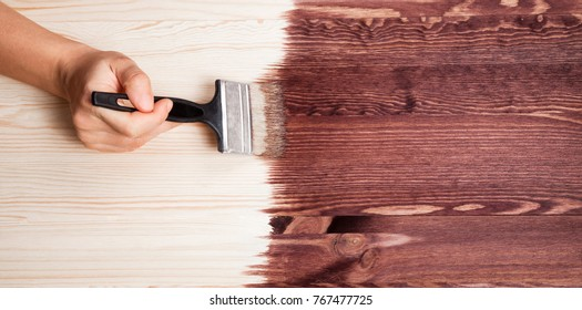 Brown color stain painting on wooden table or fence or wall, or flour, use for home decorated. House renovation. Half - painted surface. Hand holding brush. Background with copy space.