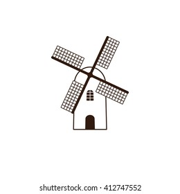 Brown colored windmill. Linear flat style illustration. Logo template. Design element
