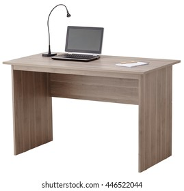 Brown computer desk with lamp and laptop isolated on white background include clipping path.