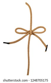 Brown cord bow isolated on white