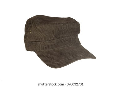 Brown corduroy cap isolated on white