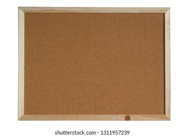 brown cork board in a frame isolated on white background. (This has clipping path)