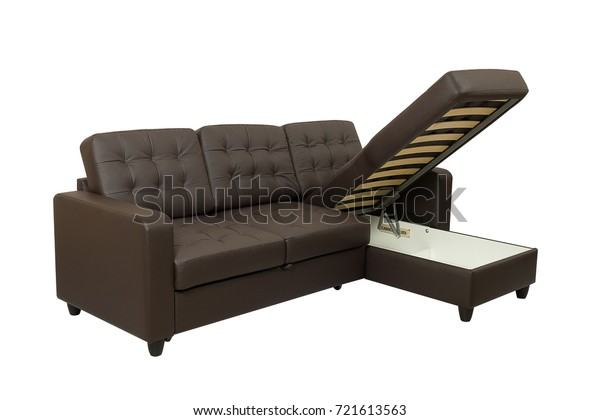 Cool Brown Corner Leather Folding Bed Sofa Stock Photo Edit Now Camellatalisay Diy Chair Ideas Camellatalisaycom
