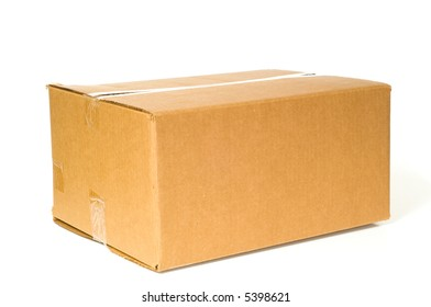 Brown corrugated box with space on the box for copy, on a white background