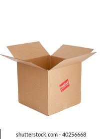 a brown corrugated cardboard empty box with a fragile sticker on a white background