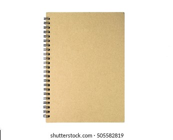 Brown cover notebook on white background