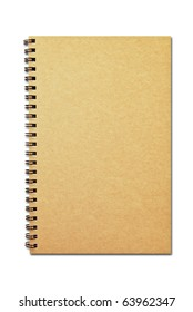 brown cover notebook recycle paper isolated on white background