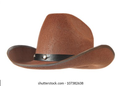 A brown cowboy hat in front of a white background.