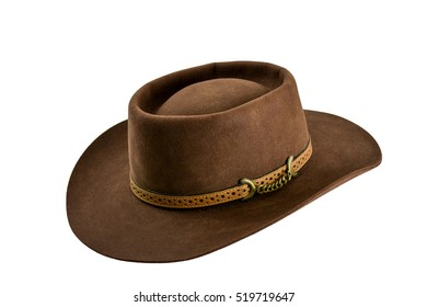 Brown cowboy hat isolated on white background.Vintage American western style felt hat in Rodeo festival.