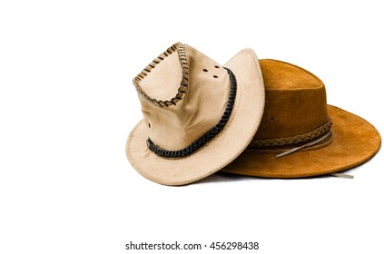 Brown cowboy hat - with white background -  isolated