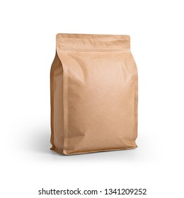 Brown craft paper bag packaging template isolated on white background. Packaging template mockup collection. With clipping Path included. Stand-up pouch Half side view package