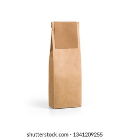 Brown craft paper bag packaging template with label isolated on white background. Packaging template mockup collection. With clipping Path included. Stand-up pouch Half side view package