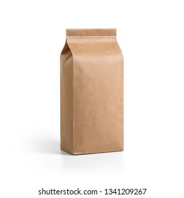 Brown craft paper bag packaging template with stitch sewing isolated on white background. Packaging template mockup collection. With clipping Path included. Stand-up pouch Half side view package