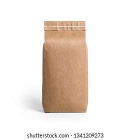 Brown craft paper bag packaging template with stitch sewing isolated on white background. Packaging template mockup collection. With clipping Path included. Stand-up pouch Back view package