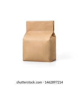 Brown craft paper bag packaging template isolated on white background. Packaging template mockup collection. Stand-up pouch. Half side view package