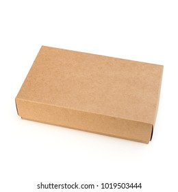 Brown craft paper box on white background. top view. Object with clipping path