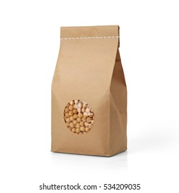 Brown craft paper peas bag packaging template with stitch sewing isolated on white background. Packaging template mockup collection. With clipping Path included. Stand-up pouch Front view package