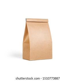 Brown craft small paper bag packaging template isolated on white background. Packaging template mockup collection. Stand-up pouch Half Side view package