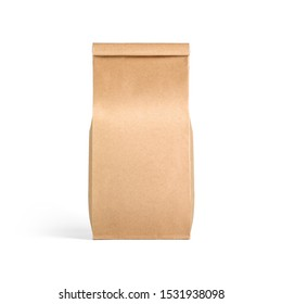 Brown craft tall paper bag packaging template isolated on white background. Packaging template mockup collection. Stand-up pouch Front view package