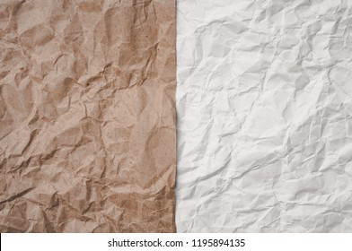 Brown craft and white cumpled paper sheets background texture. Pros and cons concept.