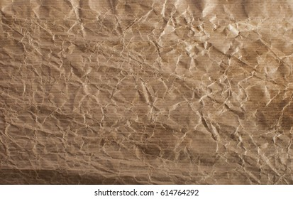 brown crumpled packaging paper texture background