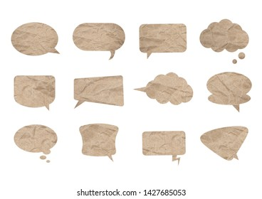 brown crumpled paper texture bubble box with blank copy space