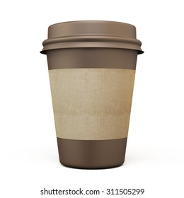 Brown cup of coffee with carton label on a white. 3d.