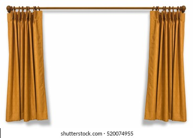 Brown curtains isolated on white background with clipping path.