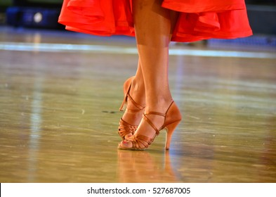Brown dancing shoes on stage