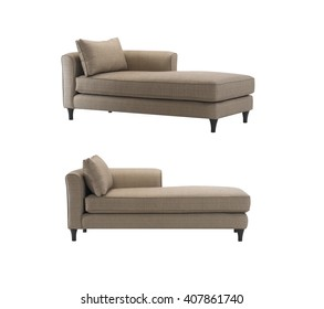 Brown daybeds with pillows, isolated with clipping mask.