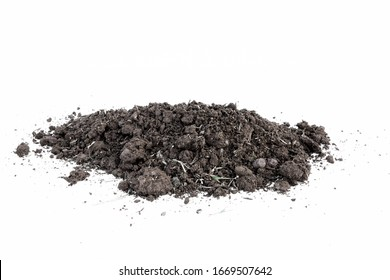 brown earth on white background. natural soil texture. Pile heap of soil humus isolated on white background