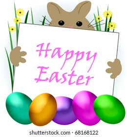 brown Easter bunny and dyed eggs illustration