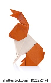 Brown easter bunny of origami, isolated on white background.